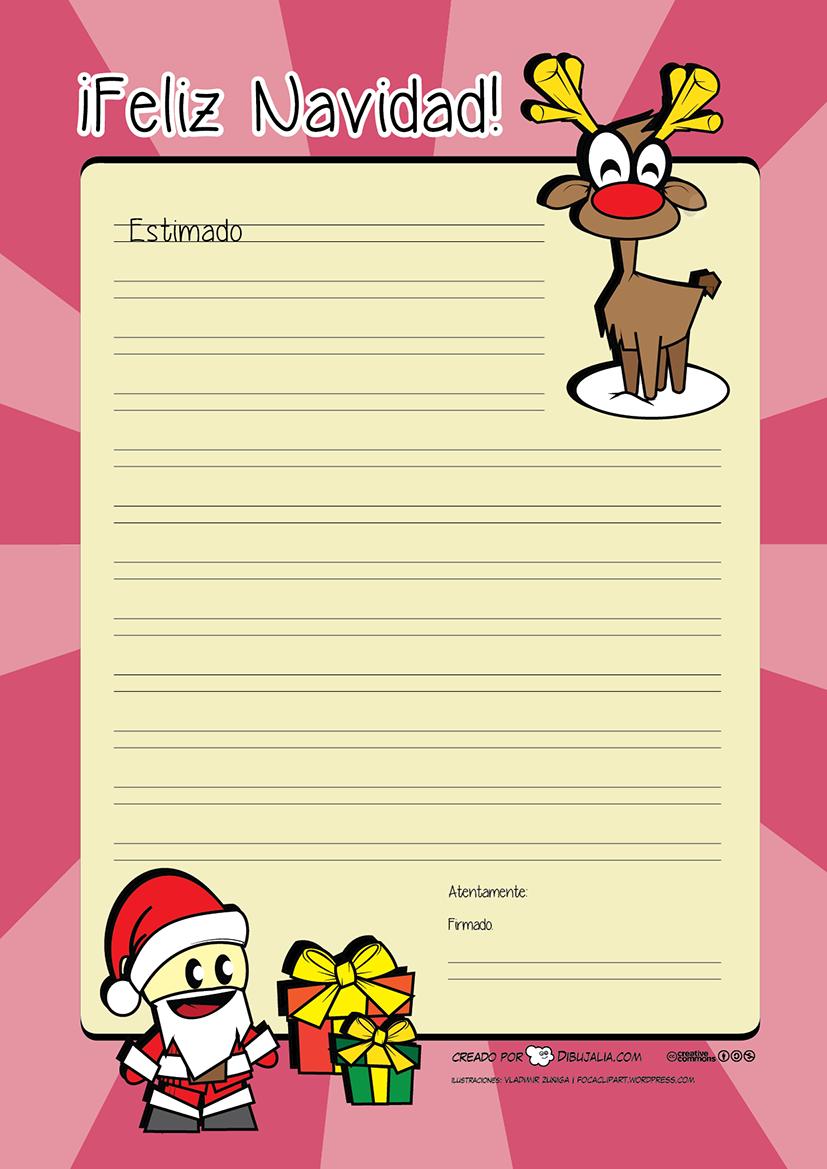 Carta a Papá Noel para los regalos de Navidad para imprimir