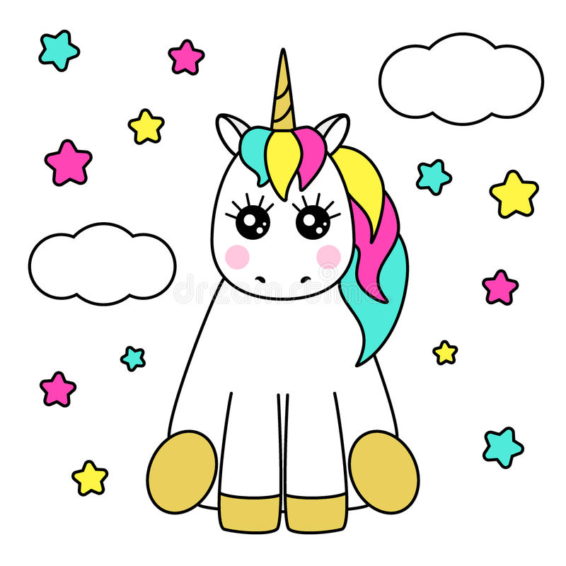 Dorable Lindas Páginas Para Colorear De Unicornios Ilustración ...